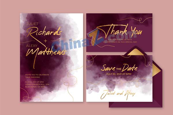 暗紫色水彩婚礼卡片设计