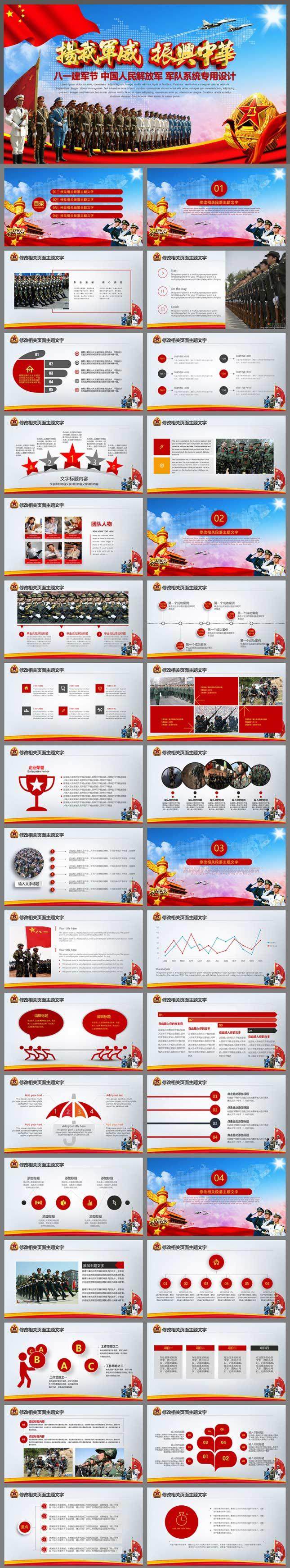 解放军八一建军节军队系统PPT模板