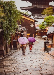 日本和服美女撐傘背影圖片