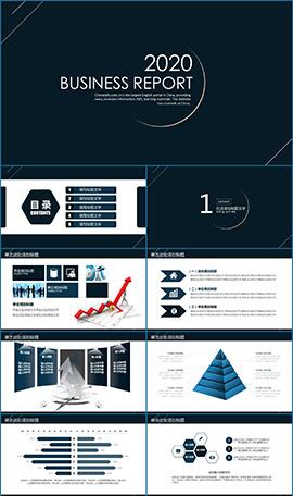 創意線條設計風商務通用PPT模板
