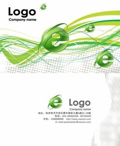 綠色線條網絡信息PSD名片素材