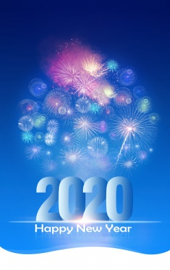 2020年新年煙花海報背景ps素材