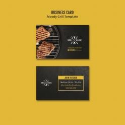西餐牛排店名片模板PSD