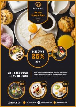 早餐餐廳宣傳單模板PSD