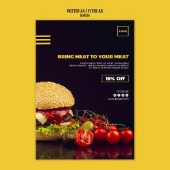 美味汉堡PSD美食宣传单