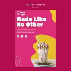 冰淇淋美食宣传单设计PSD