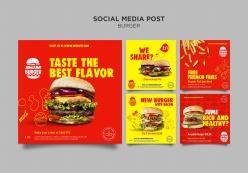 漢堡包餐廳宣傳單模板