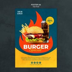 超級漢堡美食宣傳活動海報