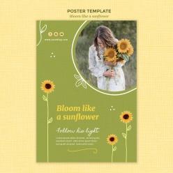 向日葵裝飾人物海報設計