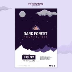 黑暗森林徒步旅行海報模板