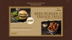 漢堡餐廳橫幅模板PSD素材