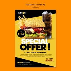 漢堡特價海報模板PSD