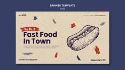 手繪熱狗美食宣傳單設計