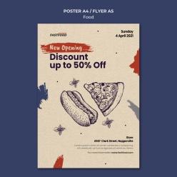美式食品銷售海報模板