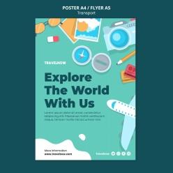 探索世界海報模板