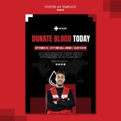 今日獻血海報模板
