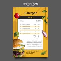 漢堡餐廳收據模板設計