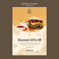美式食品海報模板設計