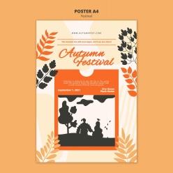 秋季插畫PSD海報模板設計