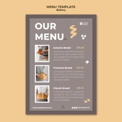 面包店垂直菜單模板