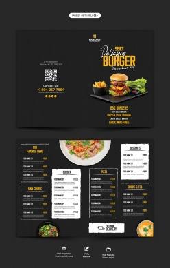 黑色餐廳菜單PSD模板