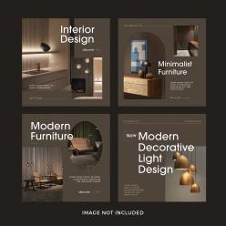 時尚家居設計宣傳單模板