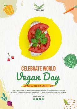 世界素食日海報模板