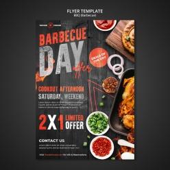 燒烤餐廳宣傳海報模板設計